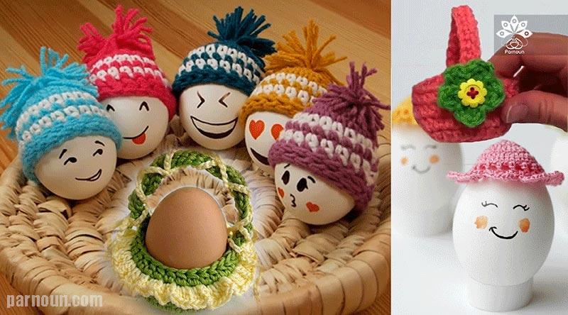 کلاهها و سبدهای تخم مرغ بافته شده با قلاب